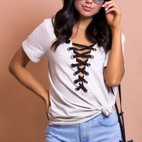 Miley Lace Up Tee - Taupe