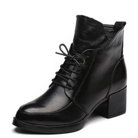 Genuine Leather Thick Heel Women Boots