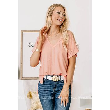 In Theory Basic V Neck Top | Pink