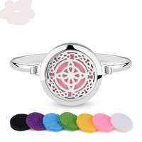 Stainless Steel Celtic knot Aromatherapy Essential Oil Diffuser Bracelet w/6PCS Felt Pads