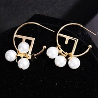 Fendi New fashion letter pearl long earring women