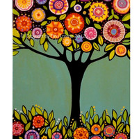 """Digital Print from original painting """"Tree with flowers"""" by Elina Lorenz colorful and bright"""