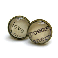 Love Poems Recycled Vintage Library Card Romantic Word Earrings Aged Brass Post Studs