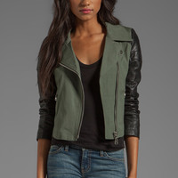 DOMA Gabardine Lamb Leather Jacket in Military Green