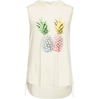 Full Tilt Pineapples Girls Hooded Muscle Tank White  In Sizes