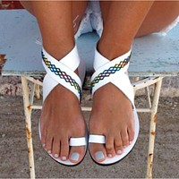 Beach Open Toe Flat Sandals Women's Foreign Trade Shoes white