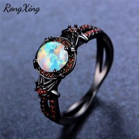 RongXing Mystic Rainbow Fire Opal Ring Red Cubic Zirconia Women Wedding Rings Vintage Black Gold Filled Flower Jewelry RB1349