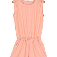 Solid Color Pocket Design Romper