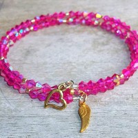 CLEARANCE~~Plus Size Elegance Angel Wing Hot Pink Acrylic Crystal & Gold Glass Beaded Artisan Crafted Stackable Wrap Bracelet (L-XXL)