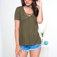 Tanith Lace Up Top - Olive