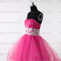 A-line Strapless Above the knee Organza Applique Red Short Cocktail Dresses Prom Dresses Formal Dresses  Evening Dresses Party Dresses 2013