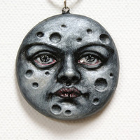 Full Moon Pendant, Handmade and Hand Painted Silver Light Sculpture, OOAK