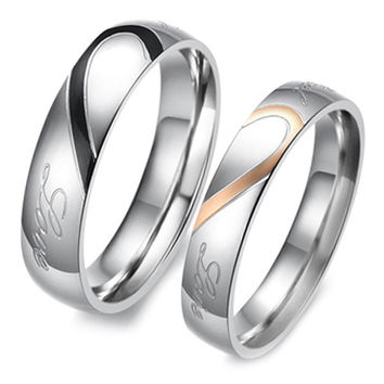 Heart Shape Matching Titanium Promise Ring for Couple 316L Stainless Steel Wedding Bands Rings = 1930300356