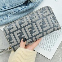 FENDI Fashion New Hot Sale Leather Zipper Women Purse Handbag Wallet
