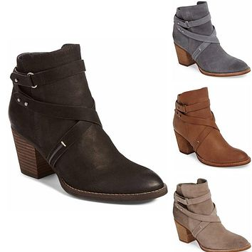 Autumn Winter Short Boots High-heeled Thick-heeled Women's Ankle Boots