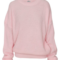 Plain Oversized Fisherman Jumper in Baby Pink