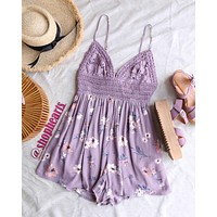 Final Sale - Floral Lace Inset Romper in Light Purple