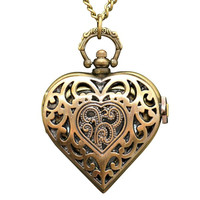 Heart Locket Clock Necklace