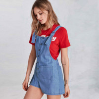 Fashion Casual Solid Color Denim Pocket Buttons Back Strap Shorts Romper Jumpsuit