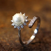 Pearl Ring Sun Crystal Open Ring Adjustable Ring Jewelry Silver Plated Gift Idea