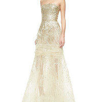 Oscar by Oscar de la Renta Strapless Sequined Feather-Detailed Gown, Gold