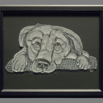 Engraved Puppy on Glass (framed) Not etched or sandblasted.