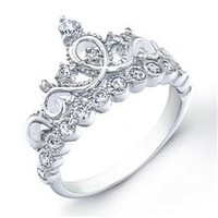 Rhodium-plated Sterling Silver Crown Rings / Princess Ring