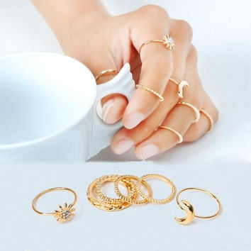 7pcs/set  Moon and Sun rings