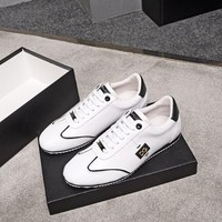 Dolce & Gabbana D&G Men Fashion Leather Casual Sports Shoes Sneakers White