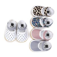 First Walkers Newborn Baby Girl Soft Sole Shoes Infant Toddler Lace Striped Print Crib Shoes 0-18M