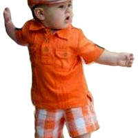 Rugged Butts-Orange Polo-Plaid Short Set