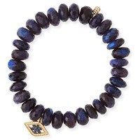 Sydney Evan Beaded Spectralite Bracelet with Diamond & Sapphire Flower Eye Charm
