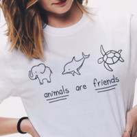 Animals Are Friends Graphic Tops