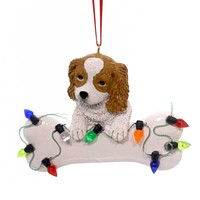 Holiday Ornaments DOG WITH BONE Polyresin King Charles A1680 Brwn Cavalier