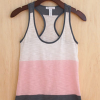 Essential Summer Color Block Tank, Pink Dust