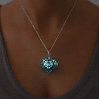 Blue Glowing Heart  Necklace, Glowing Jewelry, Glow in the Dark, Gifts for Her, Valentines Day, READY TO SHIP, Glow jewelry