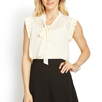 LOVE 21 Ruffled Bow Front Blouse