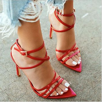 Women's sandals More Thin line combination Pointed Fish mouth Fine heel overheight with Women's shoes  red
