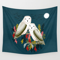 Two Owls by Andrea Lauren Wall Tapestry by Andrea Lauren Design