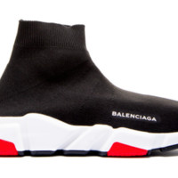 Auth BNWT Mens Balenciaga Speed Sock Black/Red Trainer Runner UK 9 / 42 Receipt