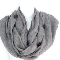 Knitted Infinity Scarf, Knit Scarf, Chunky Scarf, Loop Scarf, Button Knit Scarf, Womens Knit Scarf, Scarves, Fall Scarf, Winter Scarf, Gray
