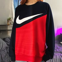 NIKE casual hook-stitched sweater with round collar and long sleeves