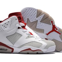 Air Jordan Retro 6 Hare Alternate 91 Basketball Shoes Men 6s Hare 1991 White Red Athletics Sports Sneakers High Quality With Shoes Box
