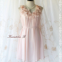 A Party III - Dress - Sweet Party Wedding Bridesmaid Cocktail Dinner Dress Pale Pink Color Heart Ruffle Around Neck XS-M