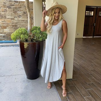 Lounge in Comfort Jersey Maxi Dress in Grey