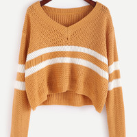 Yellow Striped Chevron Knit Sweater