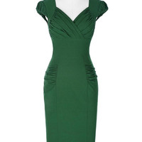 Women Dresses 2017 Vintage Cap Sleeve V-Neck Hips-Wrapped Pencil Dress 1950s Black Red Green Vintage Sheath Bodycon Party Dress