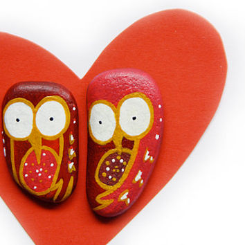 Owl pins in red and gold handpainted on stone