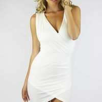 Ivory Sleeveless Wrap Mini Dress