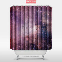 Red Color Nebula Space Galaxy Texture Shower Curtain Home & Living 008